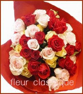 ช่อดอกกุหลาบรวมสี 50 ดอก(mix rose bouquet)