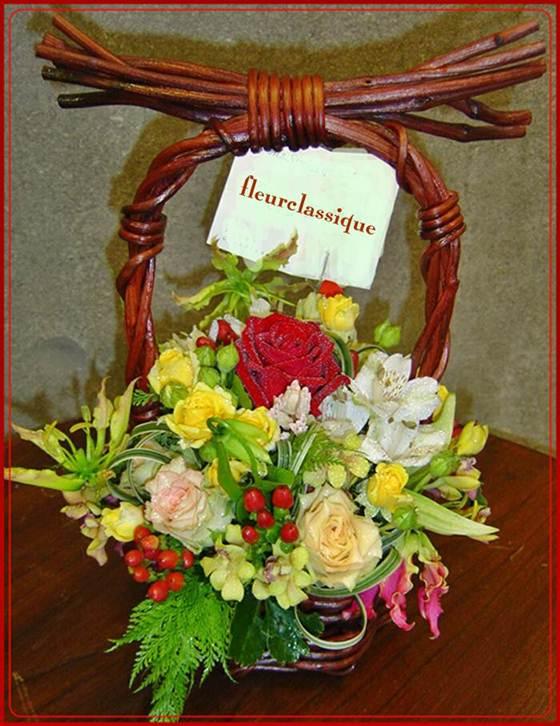 กระเช้าดอกไม้แสนสวย (flower basket)