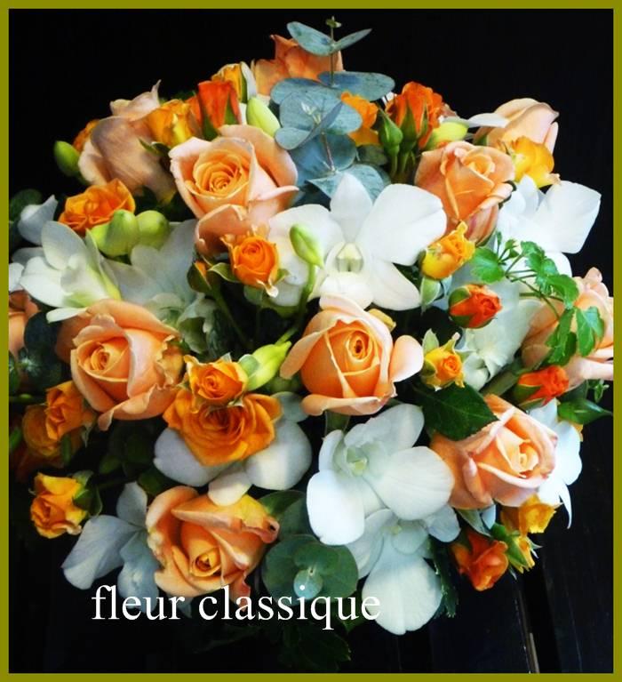 แจกันดอกไม้ส้ม ขาว vase flower 2