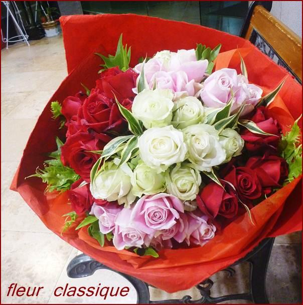 ช่อกุหลาบสามสี rose bouquet