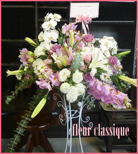 สแตนด์ดอกไม้ขาวชมพู flower stand