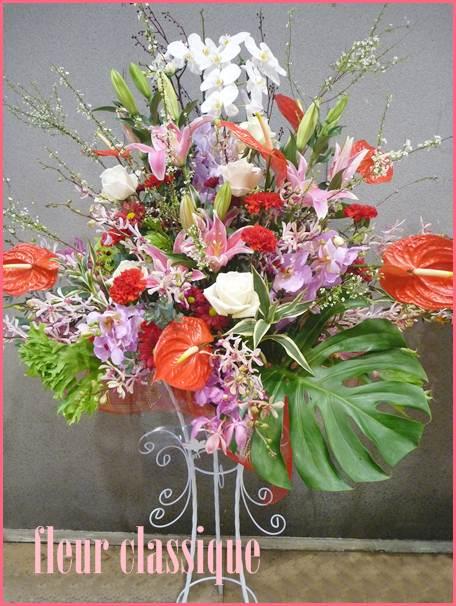 สแตนด์ดอกไม้ขาวชมพูแดง flower stand