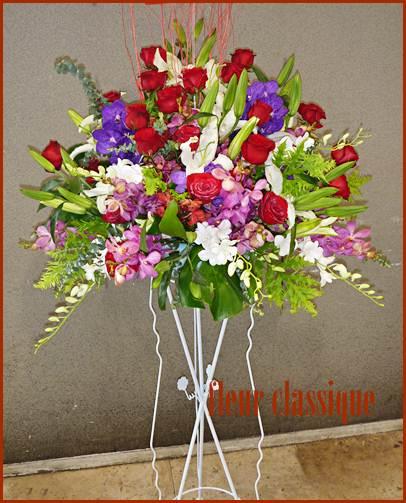 สแตนด์ดอกไม้แดงขาวม่วง (stand flower)