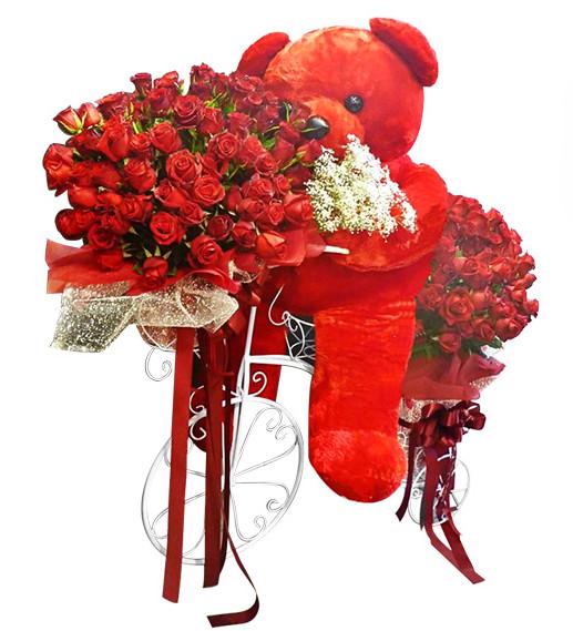 หมีปั่นจักรยานส่งกุหลาบแดง