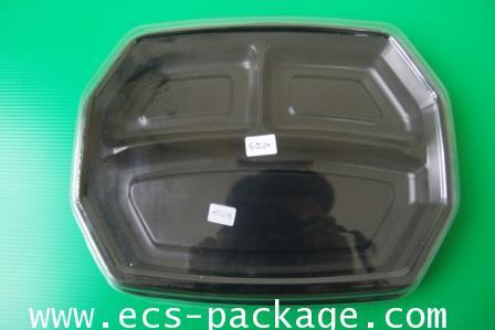 EC024 ถาดอาหาร 8 เหลี่ยม 3 หลุม