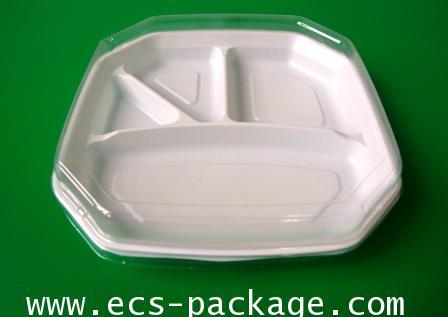 EC027 ถาดอาหาร8 เหลี่ยม 4 หลุม