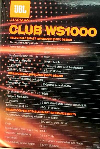 """JBL CLUB-WS1000 (ซับบาง 10"""" ) 9"""