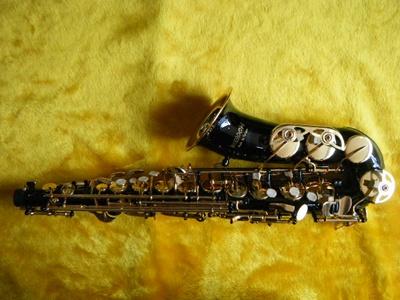 แซ็กโซโฟน ยี่ห้อ WISDOM alto saxophone ราคาถูก รุ่น GE1100 แซกราคาถูก สีดำคีย์ทอง