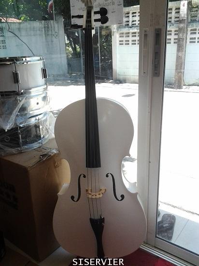 ดนตรีสากลเครื่องสายเชลโล่ siserveir เชโล ร่น GCL16 เชโล่ขนาด 1/4 สีขาวใช้เล่นวงดนตรี trioได้