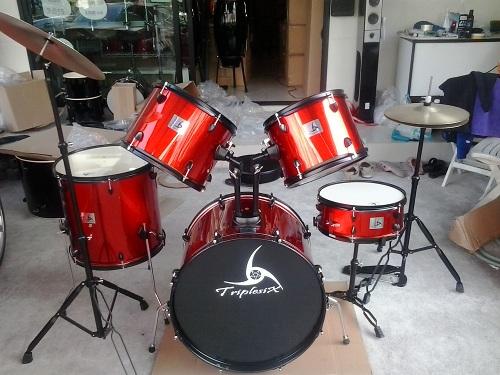 ร้านขายกลองชุด ขายกลองชุด Triplesix 5ชิ้น กลองชุดราคาถูก สีแดงประกายเมทาลิค ราคา6950