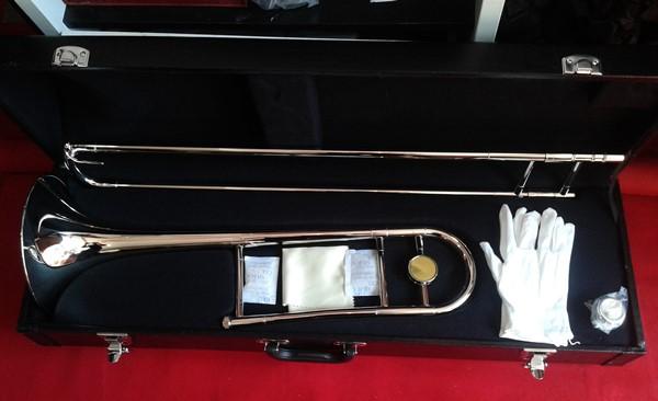 เครื่องดนตรี ทรอมโบน WISDOM เครื่อง ลม ทองเหลือง รุ่น top 710N  Alto trombone-Bb tone สีนิคเกิ้ล