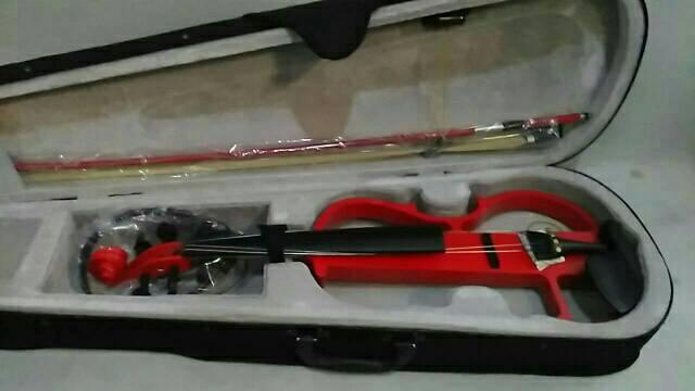 ไวโอลินไฟฟ้า Siservier สีแดง ไม้แท้ พร้อมกล่องและอุปกรณ์