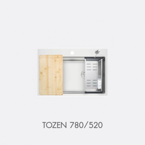 ซิงค์ล้างจาน สแตนเลส 1 หลุม พร้อมอุปกรณ์ EVE รุ่น TOZEN 780/520