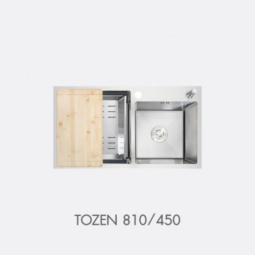 ซิงค์ล้างจาน สแตนเลส 2 หลุม พร้อมอุปกรณ์ EVE รุ่น TOZEN 810/450