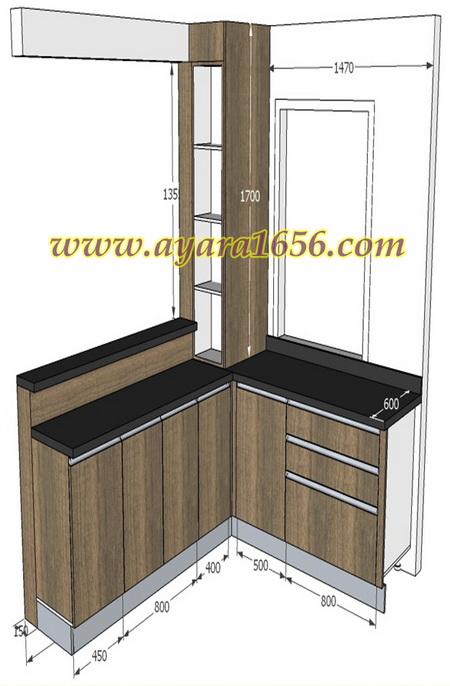 ชุด Built-in Counter Bar โครงซีเมนต์บอร์ด หน้าบาน Laminate สี Flaked Walnut 1