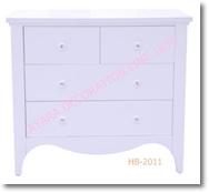 ตู้เตี้ย 4 ลิ้นชัก สีขาววินเทจ Vintage HB-2011