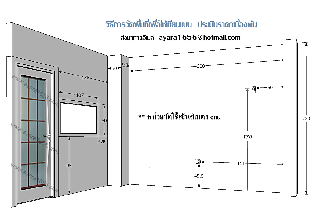 วิธีวัดพื้นที่ห้องครัว  เพื่อส่งให้