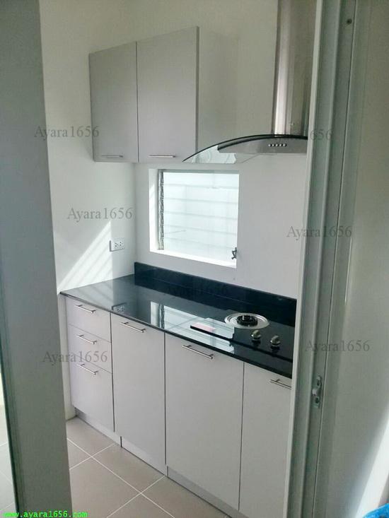 ชุดครัว Built-in ตู้ล่าง โครงซีเมนต์บอร์ด หน้าบาน Melamine สีเทาด้าน 2