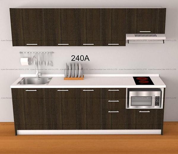 ชุดครัว Budget Kit ตู้ล่างใต้ Sink โครงซีเมนต์บอร์ด หน้าบาน Melamine - 240A ขนาด 2.40 เมตร
