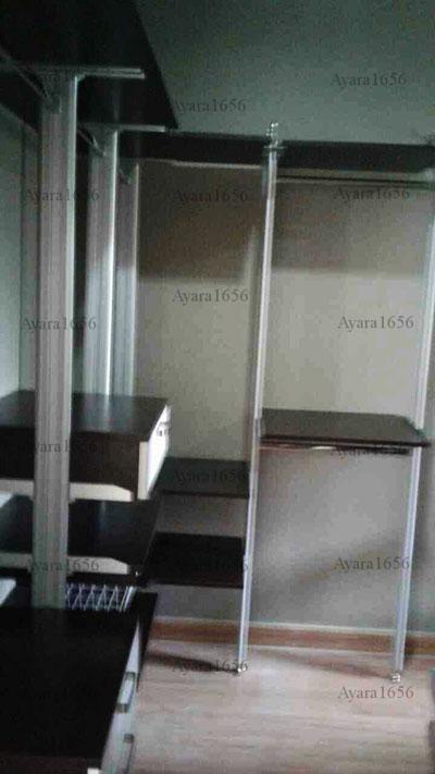 Walk In Closet - L Shape หน้าบานเมลามีน สี Oak + ขาว
