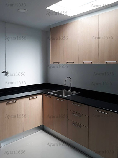 ชุดครัว Built-in ตู้ล่าง โครงซีเมนต์บอร์ด หน้าบาน Melamine สี Oak ลายไม้ - ม.พฤกษาวิลล์