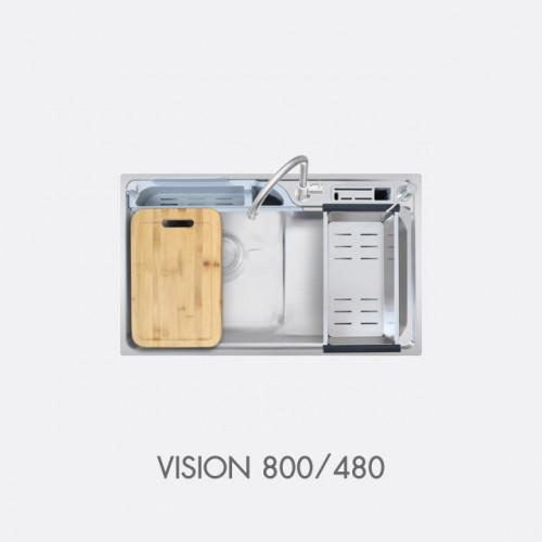 ซิงค์ล้างจาน สแตนเลส 1 หลุม พร้อมอุปกรณ์ EVE รุ่น Vision 800/480