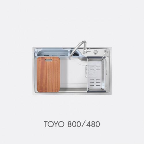 ซิงค์ล้างจาน สแตนเลส 1 หลุม พร้อมอุปกรณ์ EVE รุ่น TOYO 800/480