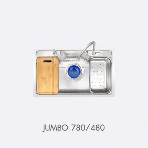 ซิงค์ล้างจาน สแตนเลส 1 หลุม พร้อมอุปกรณ์ EVE รุ่น JUMBO 780/480