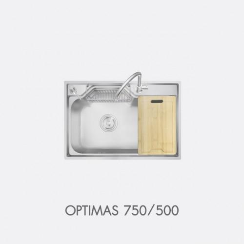 ซิงค์ล้างจาน สแตนเลส 1 หลุม พร้อมอุปกรณ์ EVE รุ่น OPTIMAS 750/500