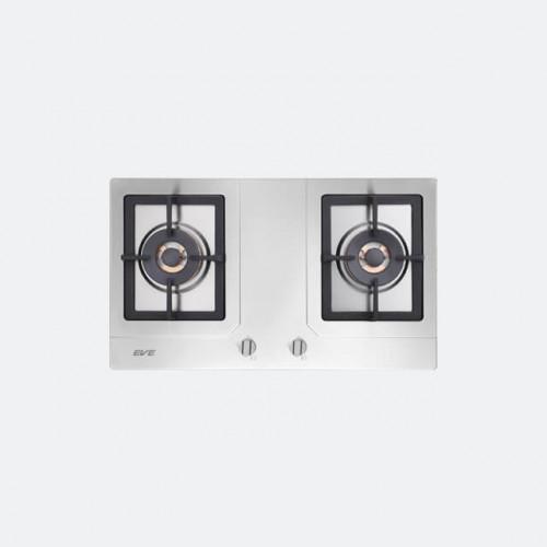 เตาแก๊ส 2 หัว แบบฝัง เตาแก๊สสแตนเลสหัวคู่ EVE รุ่น HB76-2TRDFD/MSI