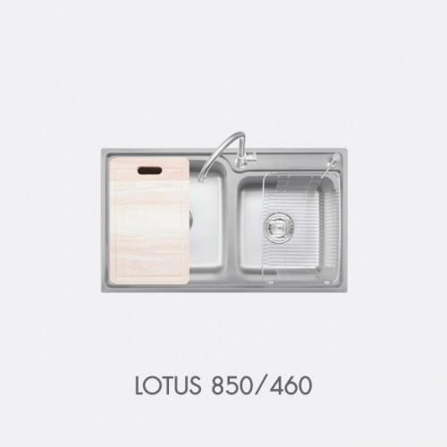 ซิงค์ล้างจาน สแตนเลส 2 หลุม พร้อมอุปกรณ์ EVE รุ่น LOTUS 850/460