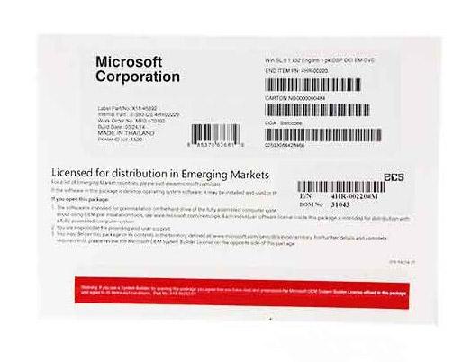 Microsoft Windows Single 8.1 32 Bit/64 Bit OEM
