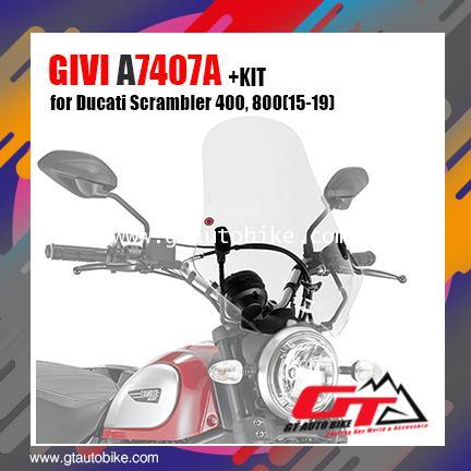 Givi 7407A + A7407A Motorcycle Screen Ducati Scrambler 400,800