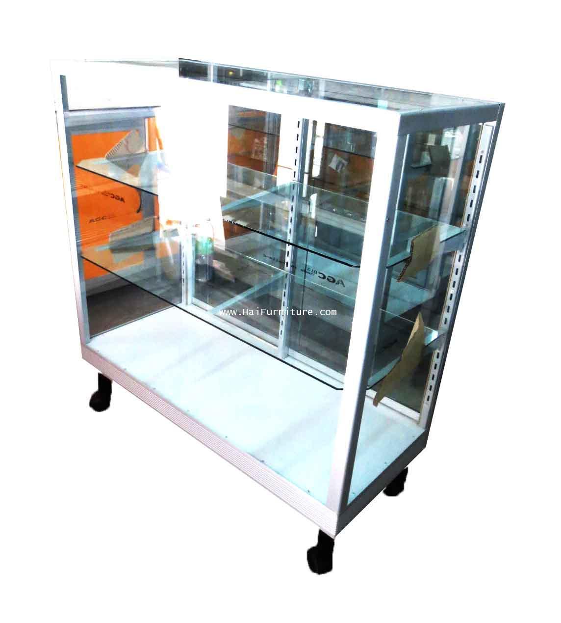 ตู้โชว์กระจก ตู้แสดงสินค้า ขอบอลูมิเนียม 3 ฟุต ชั้นปรับ 92.5*41.50*100.5 ซม.