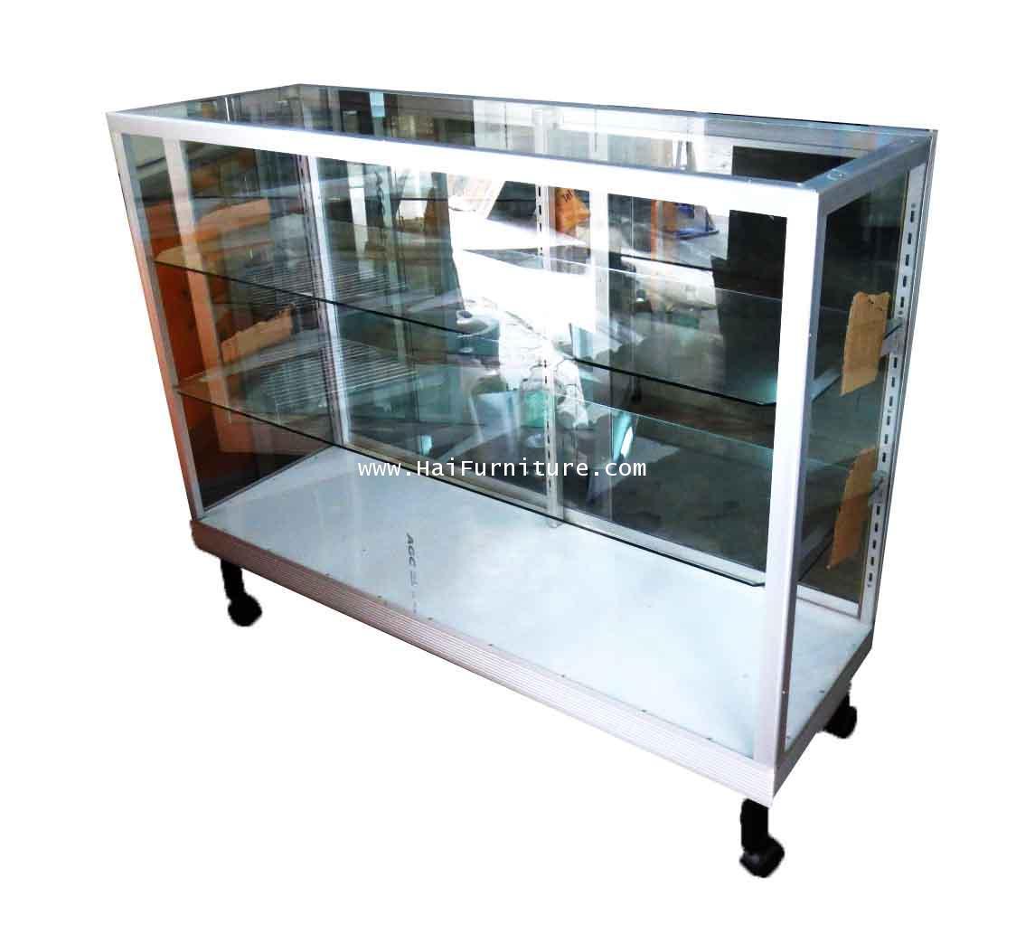 ตู้โชว์ ตู้กระจกแสดงสินค้า ขอบอลูมิเนียม 4 ฟุต ชั้นปรับ 123*41.50*100.50 ซม.