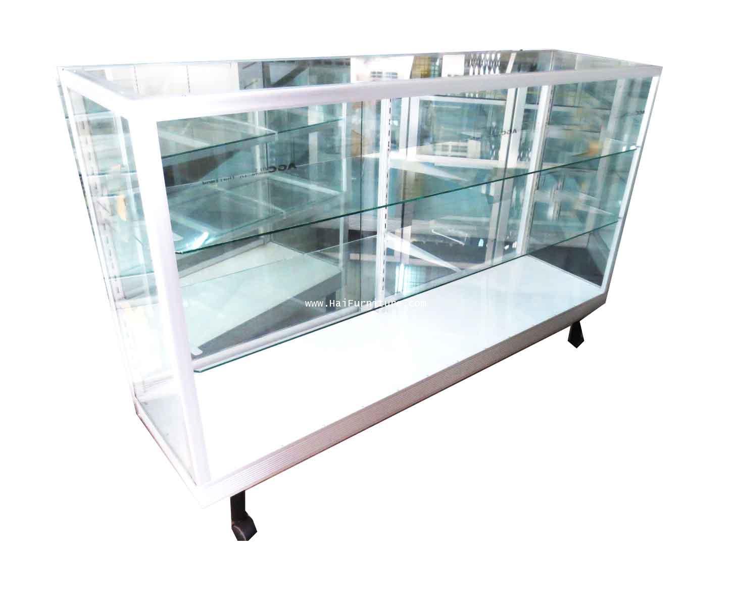 ตู้โชว์ ตู้กระจกแสดงสินค้า ขอบอลูมิเนียม 5 ฟุต ชั้นปรับ  154*41.50*100.50 ซม.