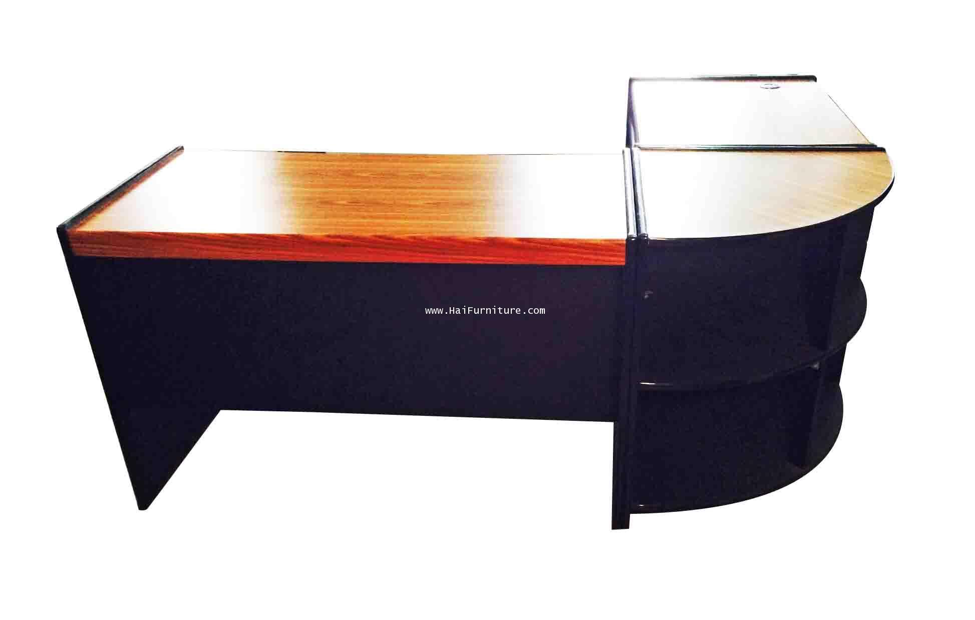 ชุดโต๊ะทำงาน 3 ชิ้น หน้า PVC สี สัก/ดำ 1