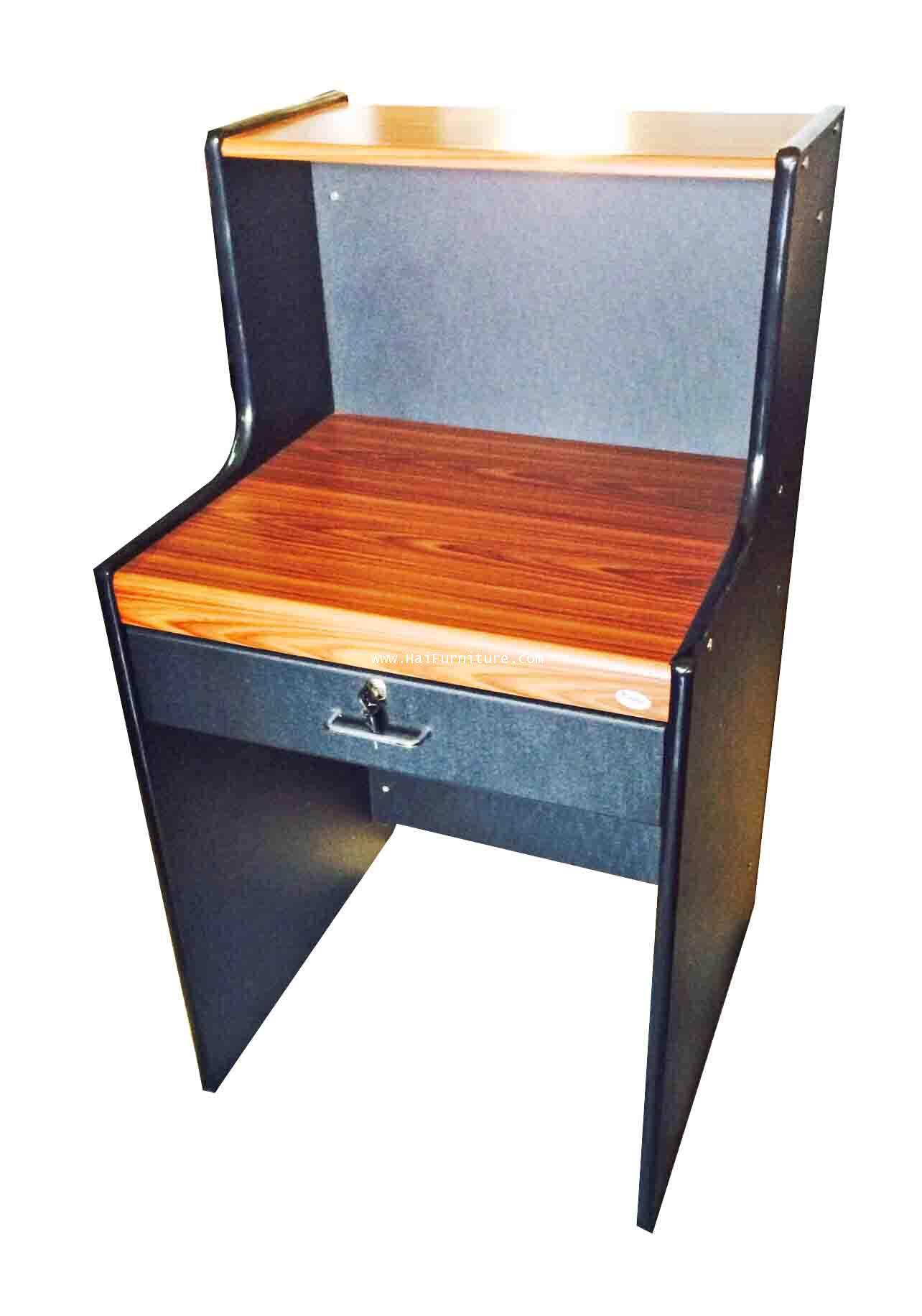 เคาท์เตอร์สำนักงานหน้า PVC สีสัก/ดำ 60*60*110 ซม.