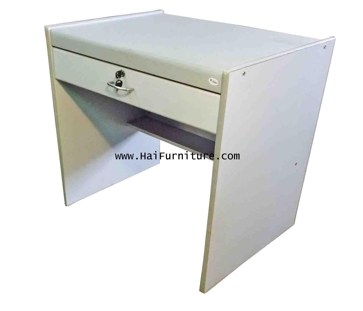 โต๊ะทำงาน 80 ซม. PVC สีทรายเทา