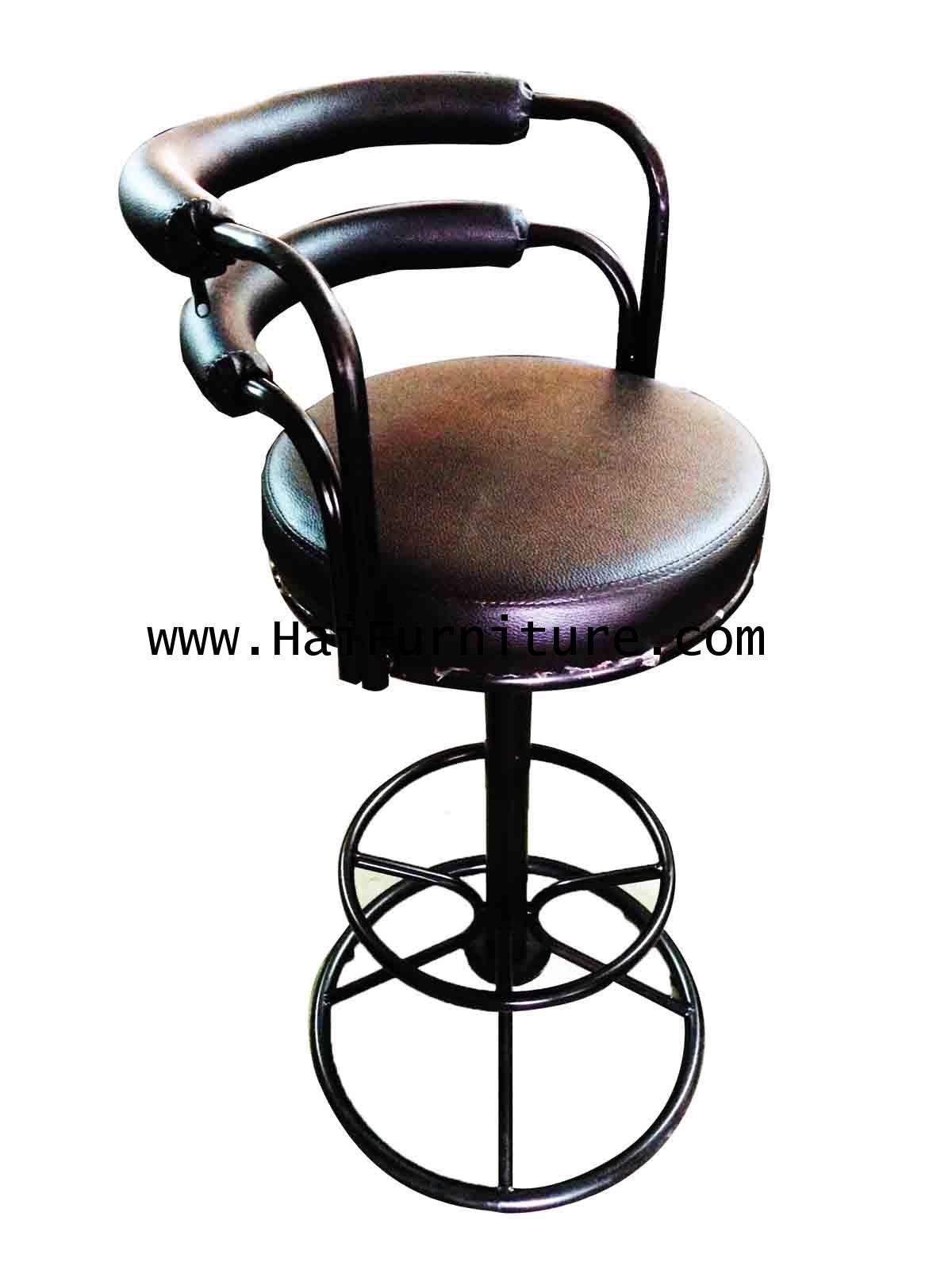 เก้าอี้บาร์ มีพนักพิง เบาะหนังสีดำ