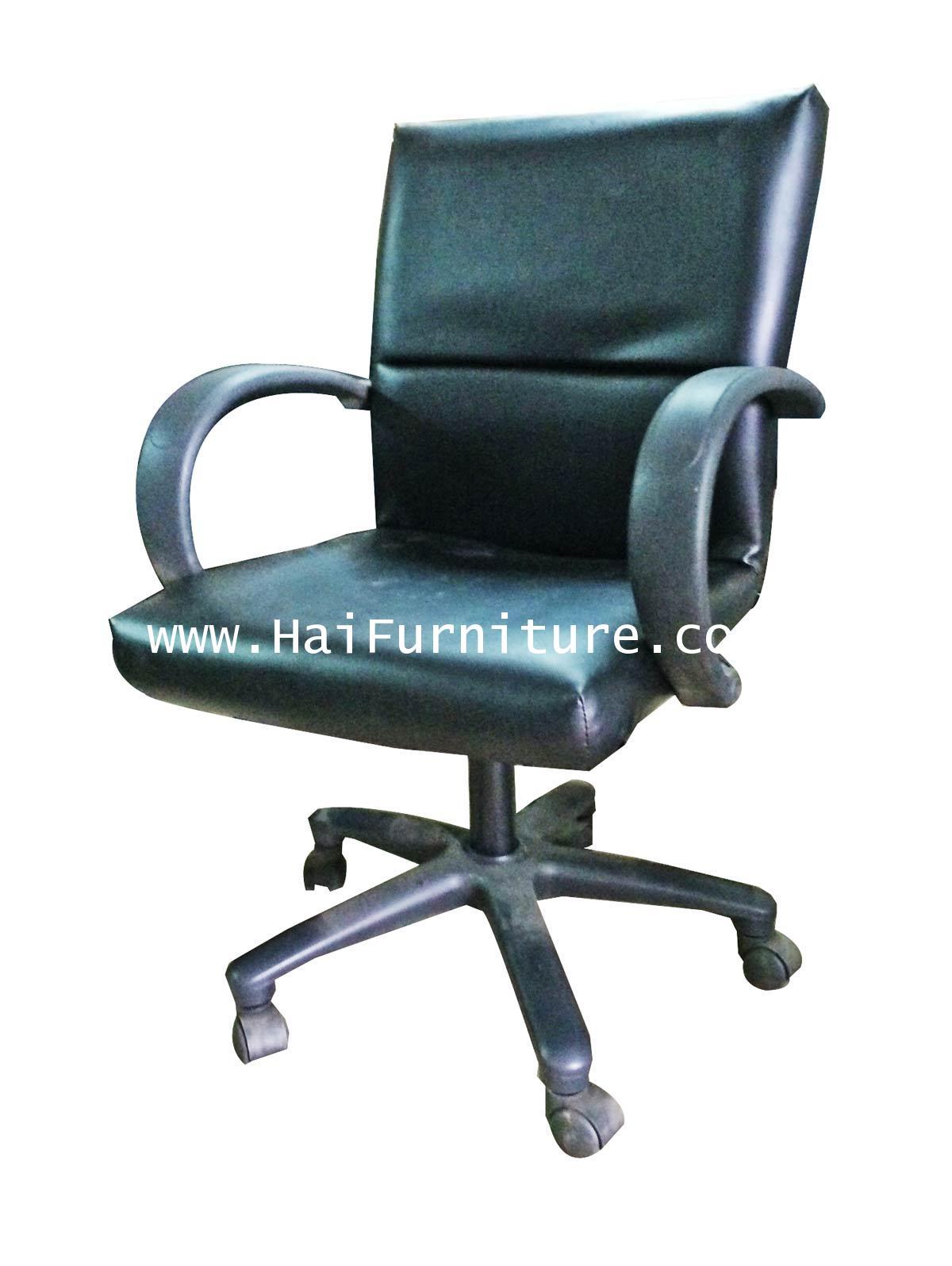 เก้าอี้เสมียน ปีกเหลี่ยม หนัง HC789