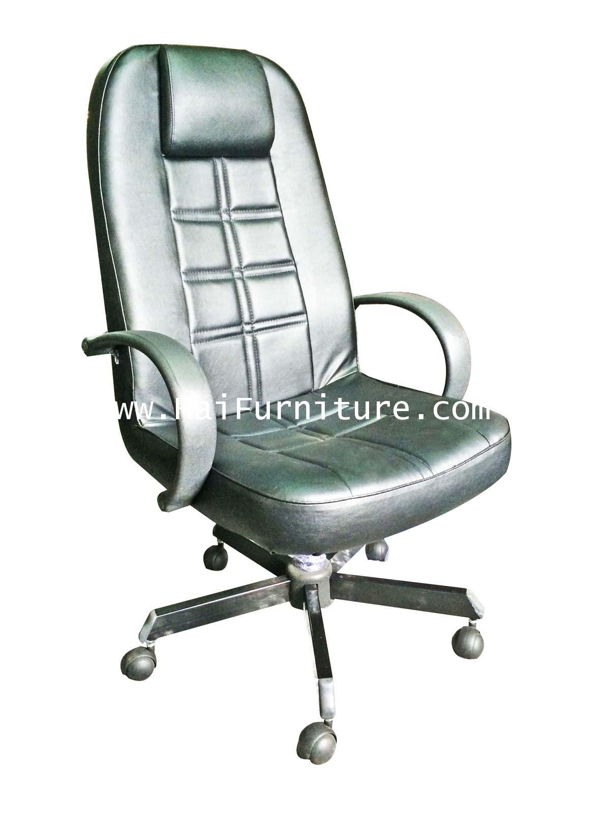 เก้าอี้ผู้จัดการ หัวหมอนหนัง ขาเหล็ก