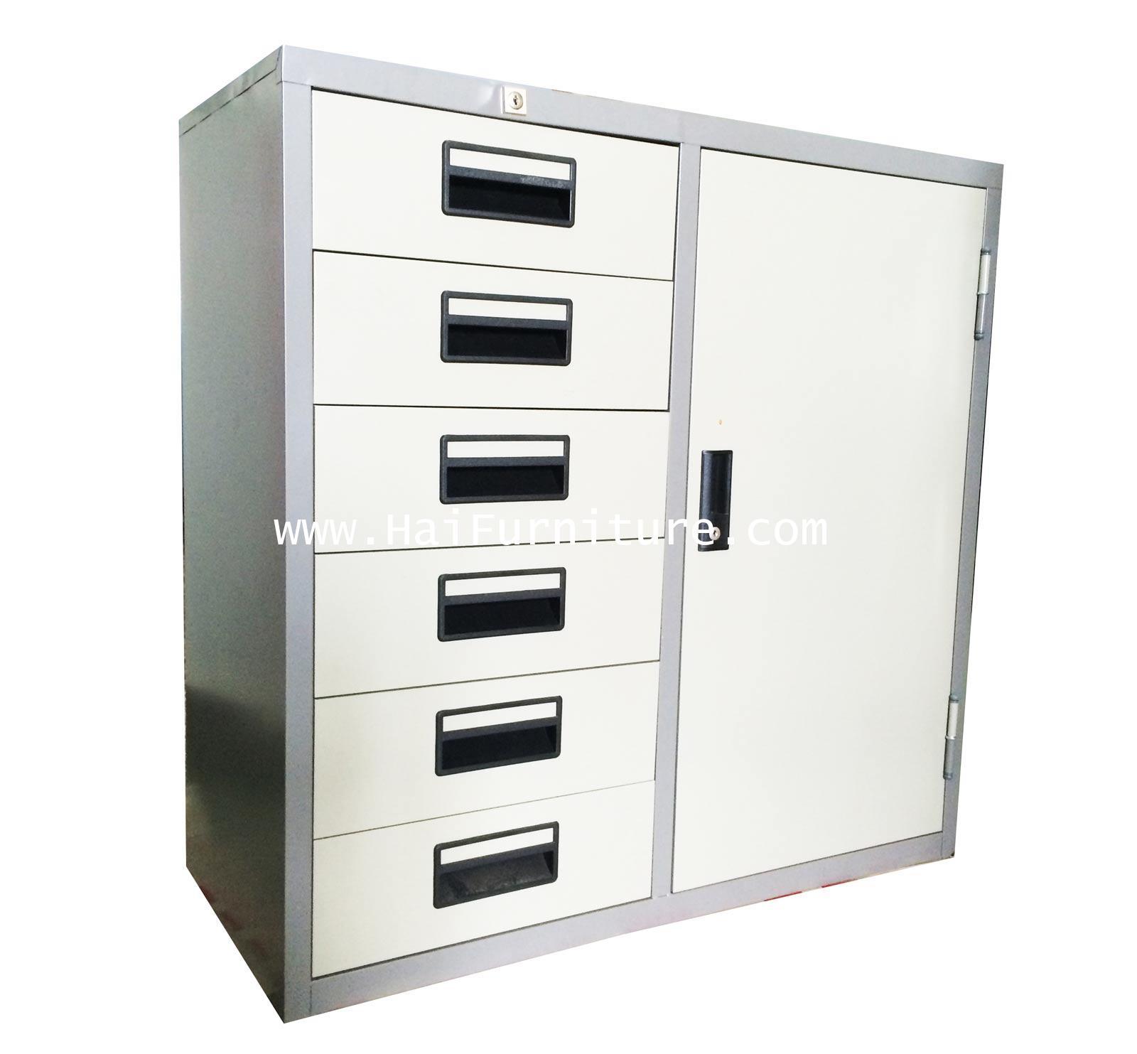 ตู้เหล็กรวม 1 บาน 6 ลิ้นชัก 3 ฟุต Grade B 91.2*40.5*87.4 ซม.