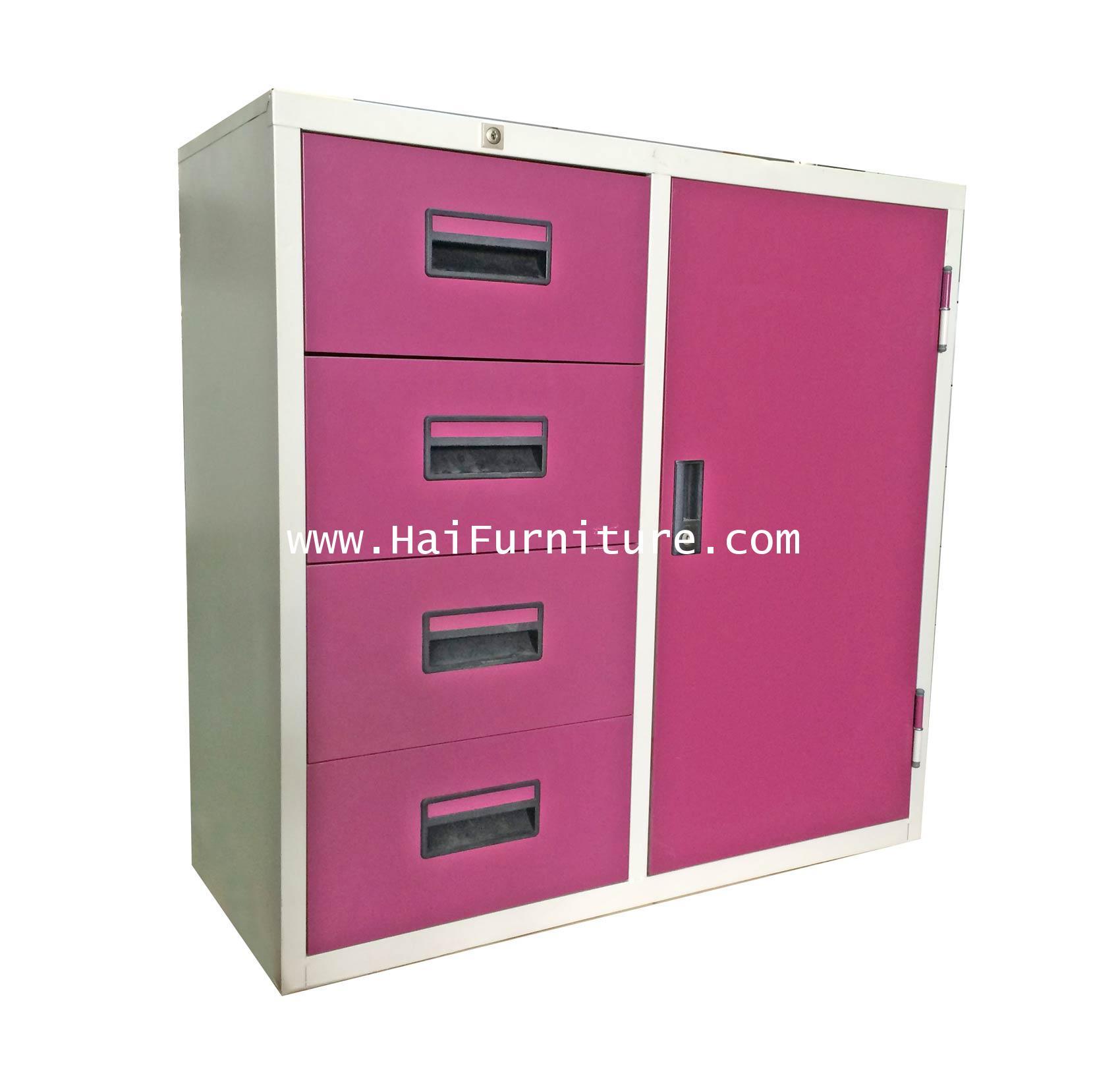 ตู้เหล็กรวม 1 บาน 4 ลิ้นชัก 3 ฟุต Grade B 91.2*40.5*87.4 ซม.