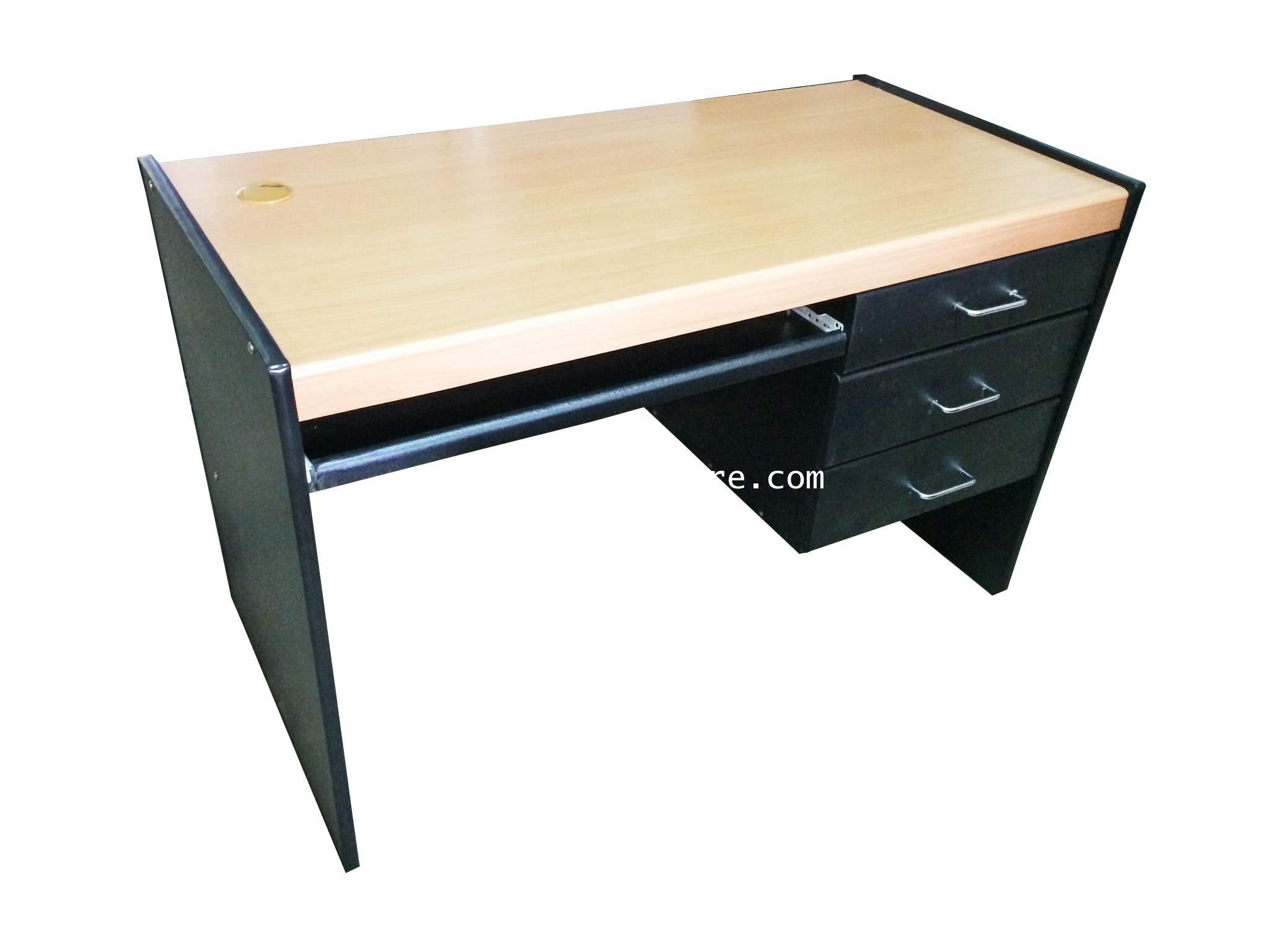 โต๊ะคอมพิวเตอร์ 3 ลิ้นชักขวา สีบีช 120*60*75 ซม.