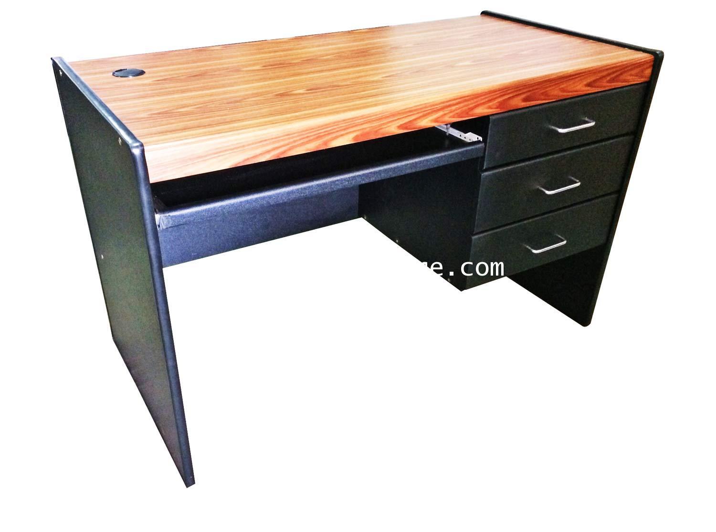 โต๊ะคอมพิวเตอร์ 3 ลิ้นชักขวา สีสักดำ 120*60*75 ซม.