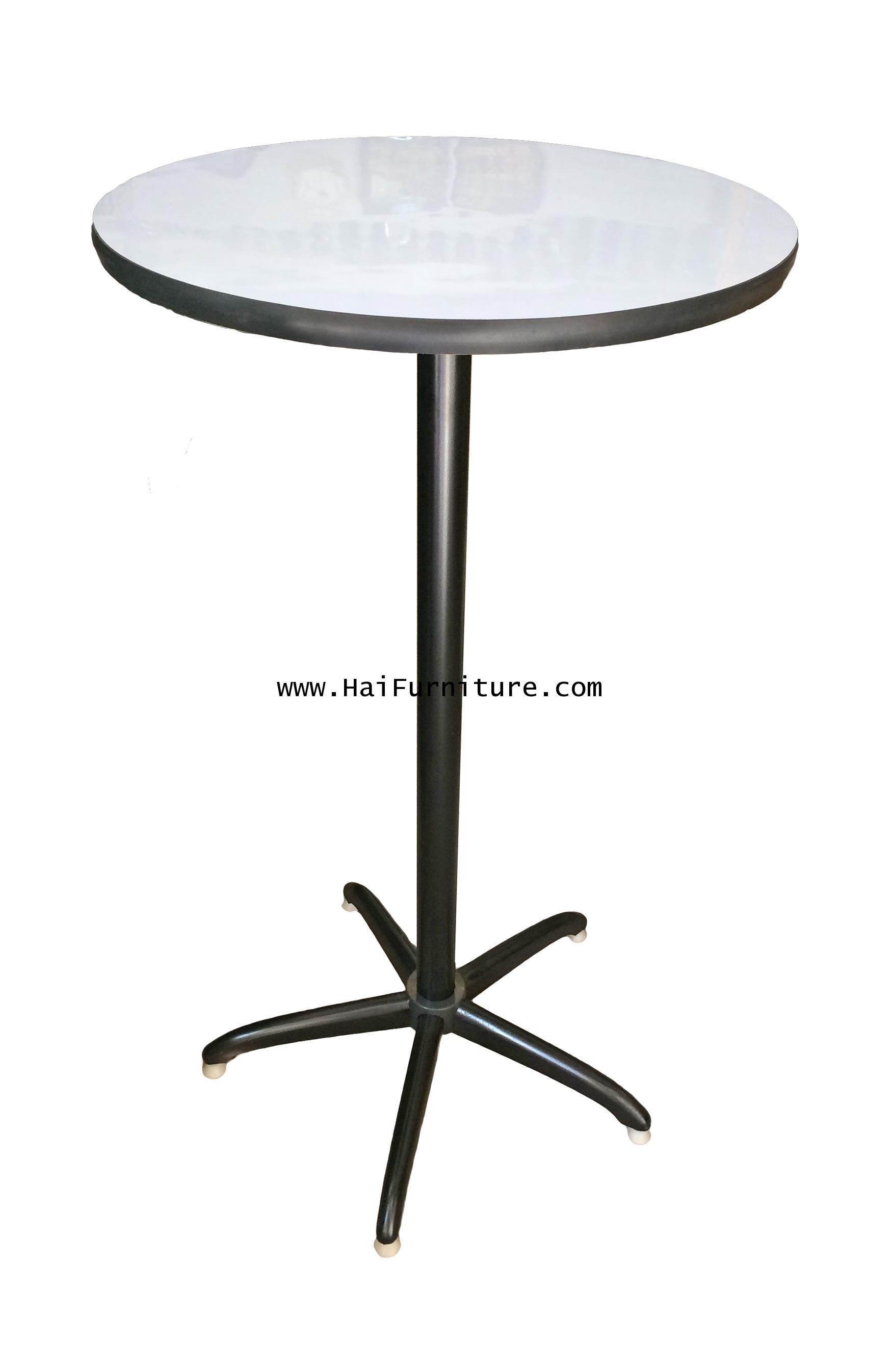โต๊ะบาร์กลม หน้าโฟเมก้าขาว 60*60*110
