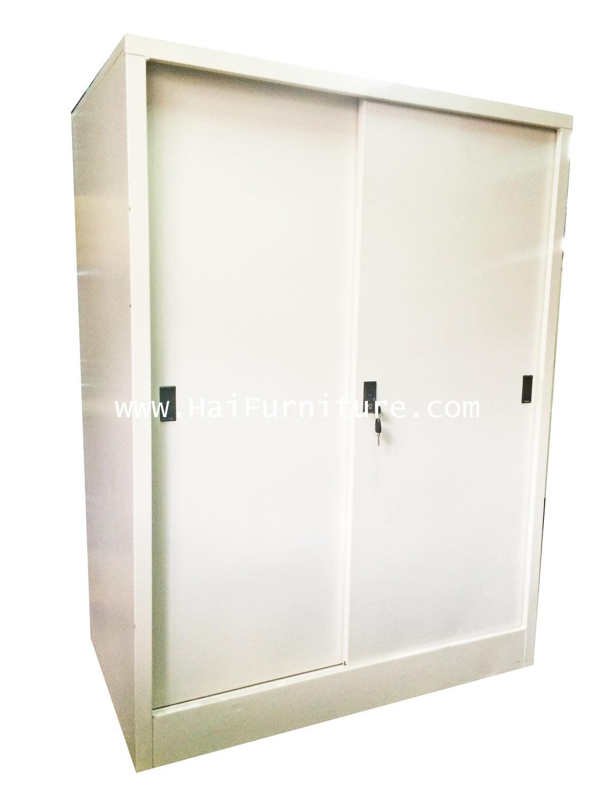 ตู้เสื้อผ้าเหล็กบานเลื่อน ทึบ เตี้ย Grade B 91.5*56*122.5 cm