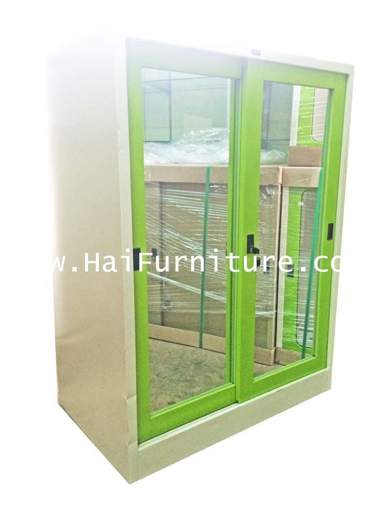 ตู้เสื้อผ้าเหล็กบานเลื่อนกระจกเงา เตี้ย Grade B 91.5*56*122.5 cm