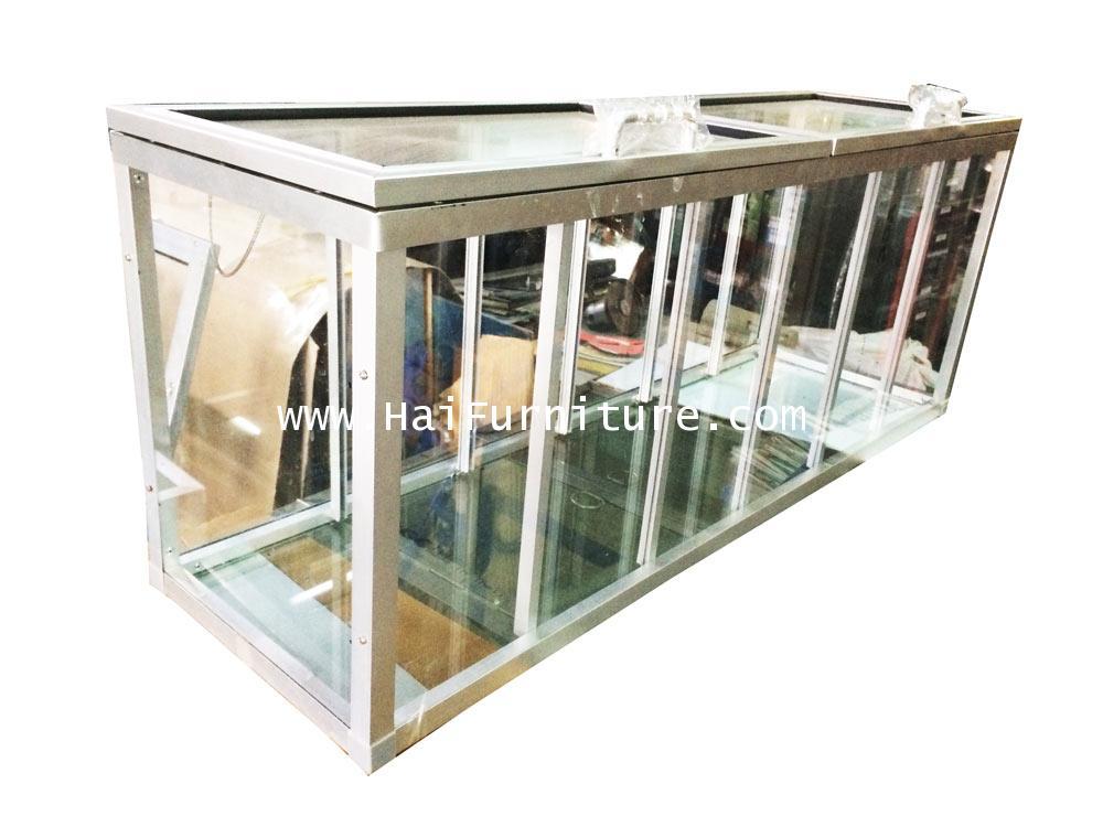 ตู้กระจกขายผลไม้ 6 ช่อง พื้นกระจก 97.5*27.5*36.5 ซม.